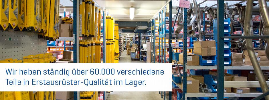 Wir haben ständig über 60.000 verschiedene Teile in Erstausrüster-Qualität im Lager.